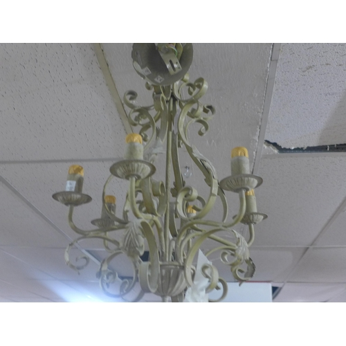 504 - Contemporary six branches metal candelabra, hand painted wrought iron...