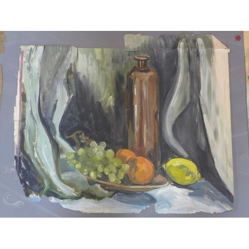 525 - A folio containing various still life watercolour and oil paintings...