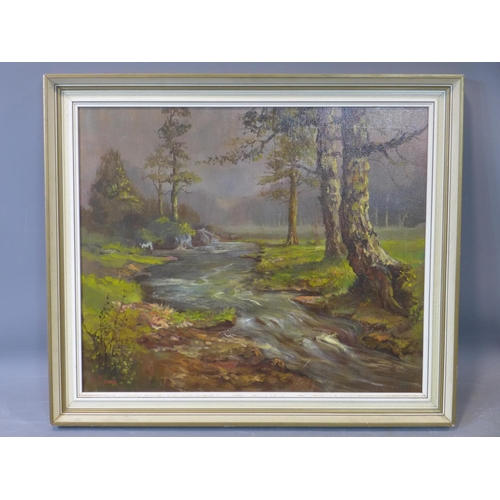 526 - A Framed oil on canvas of trees by a stream, signed F. Meres H.49 W.59cm...