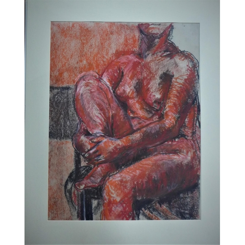 528 - Jacquie Gulliver Thompson (1942-2007), 'Red Nude', c.1998, charcoal and pastel on paper, 65 x 51cm...