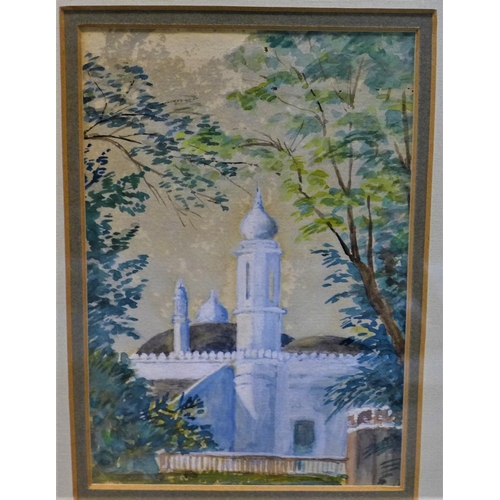 530 - 20th century British school Watercolour of a white mosque, framed and glazed 28 x 22 cm...