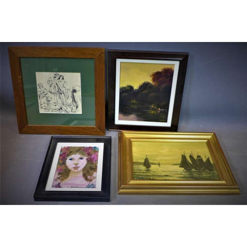 531 - Group of paintings of board by Spanish painters, 20th century, approx 36 x 30 cm...