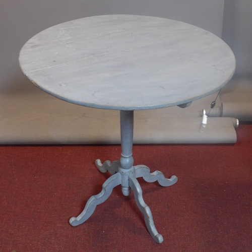534 - A 19th century blue painted French centre table on quadruped supports...