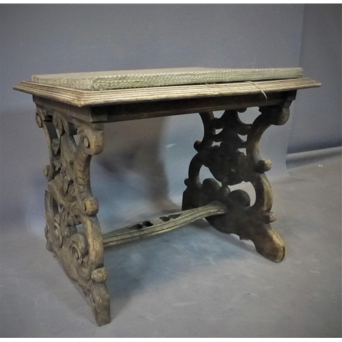 540 - Console stool with floral carving fabric surface 20th century, 50x64x43cm (W×H×D)...