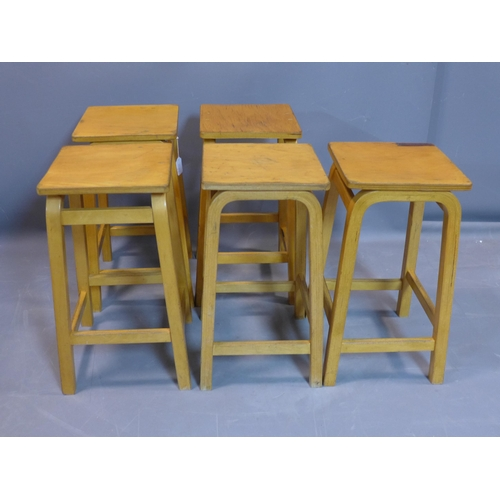541 - A set of five retro laminated beech stools, bearing labels, H.60cm...