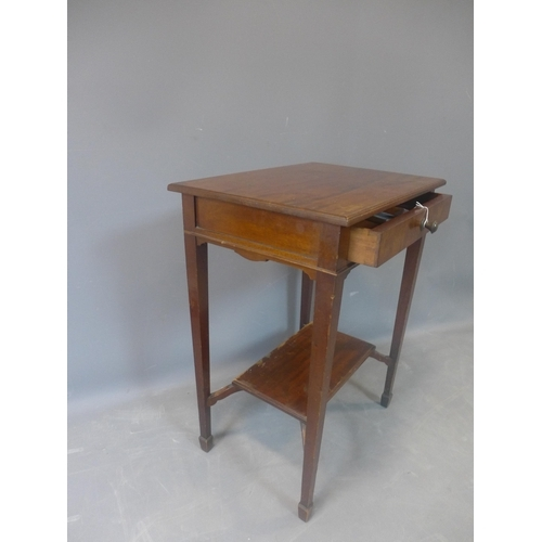 555 - A 20th century mahogany side table, with single drawer above undertier, on tapered legs and spade fe...