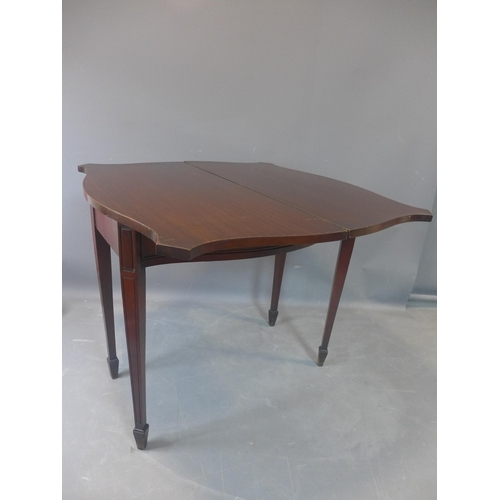 557 - A 20th century mahogany card table, with single drawer, raised on tapered legs and spade feet, H.76 ...