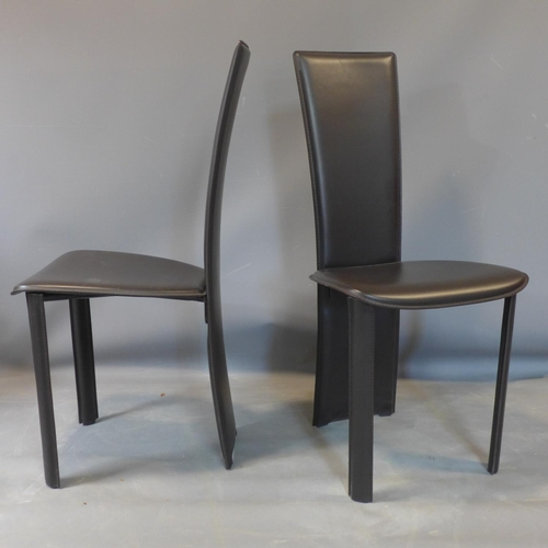 559 - A set of 8 brown leather dining chairs by Frag, marked to bases...