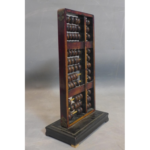 37 - Early 20th century Chinese abacus, steel, bamboo and, wood, H.42 x W.24 x D.13 cm     This is an aut...