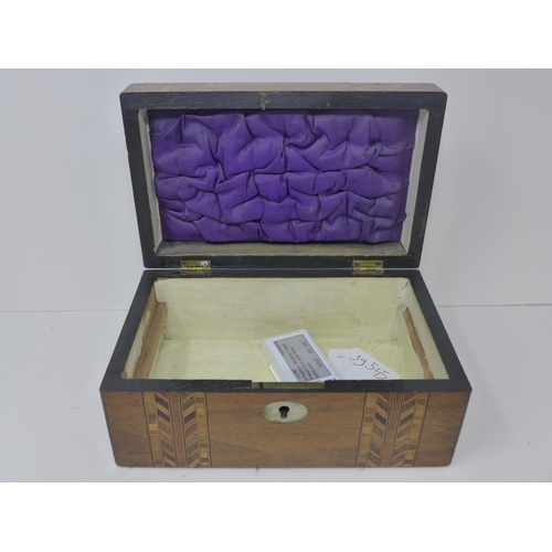 148 - Victorian walnut and inlaid mother of pearl sewing box, 19th Century, H.9 x D.21 x W.13 cm...