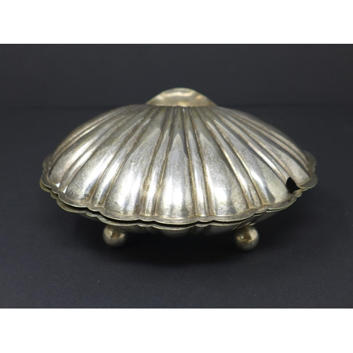 149 - Silver plated shell Baroque style shell box, H8cm W17cm...