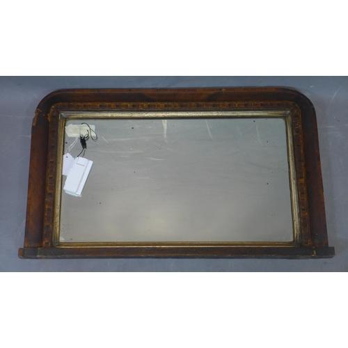 171 - An inlaid walnut overmantle mirror, 43 x 72cm...