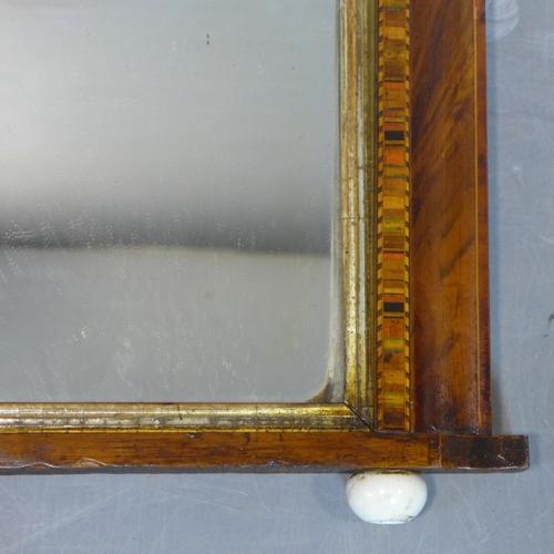 178 - An inlaid walnut overmantle mirror, raised on ceramic ball feet, 44 x 71cm...