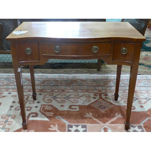 228 - A small early 20th century desk on tapered legs, H 78cm W 92cm D 53cm...