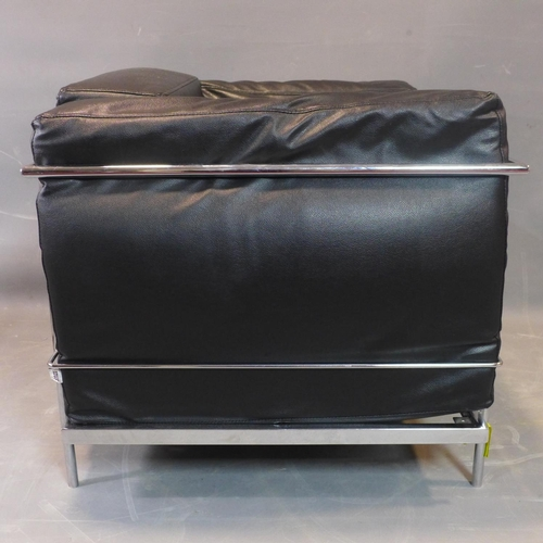 255 - A Le Corbusier style chrome and black leather sofa, with label for Amax, H.72 W.90 D.76cm...