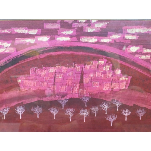301 - Talbot Hicks, abstract painting of a town with trees to foreground, in deep pinks, paler pinks and w...