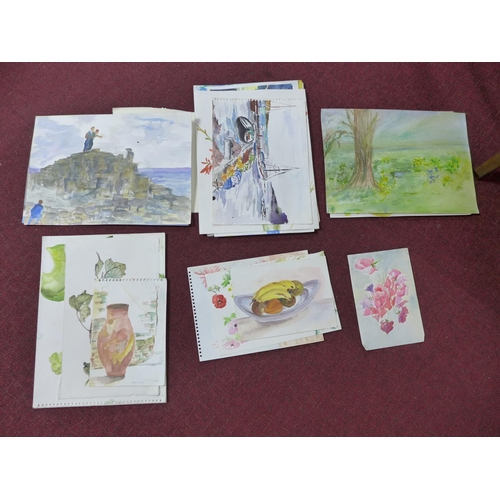 310 - Patricia Wright (British, 1919 - 2019), Twenty four watercolours of various subjects, some signed ti...
