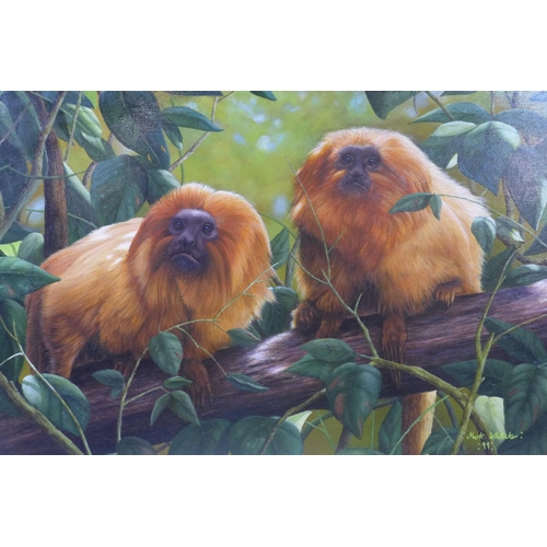 298 - Mark Whittaker (British, b.1964), 'Jewels of the Forest (Golden Spider Monkeys)', acrylic on board, ...