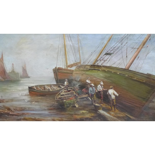 6 - Richard Short (1841–1919), Boat Hull Repairers, oil on canvas, signed, framed, 75 x 45 cm...