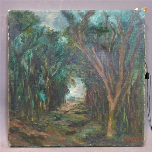 8 - British school 20th century, a path in the forest, oil on canvas, signed, 35 x 35 cm...