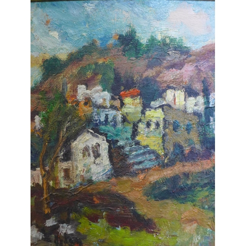 9 - British school 20th century, View of a town, oil on canvas, signed, 52 x 47 cm...