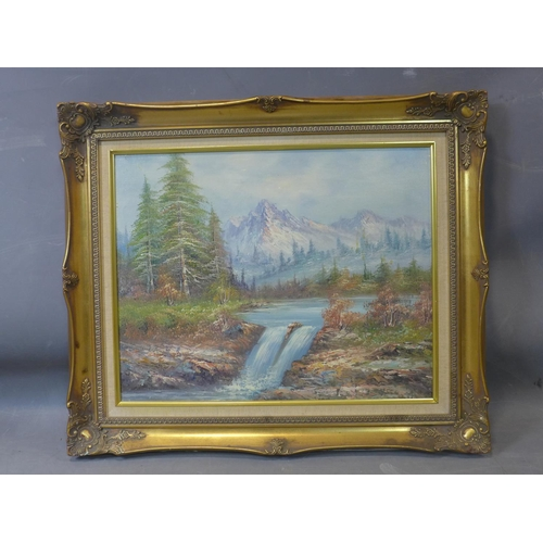 14 - 20th century school, a waterfall in a mountainous landscape, oil on board, in gilt frame, 39 x 49cm...
