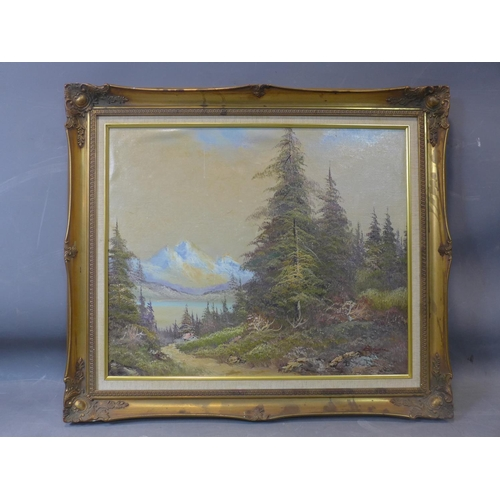 17 - 20th century school, a cottage in a forest with mountains to background, oil on board, in gilt frame...