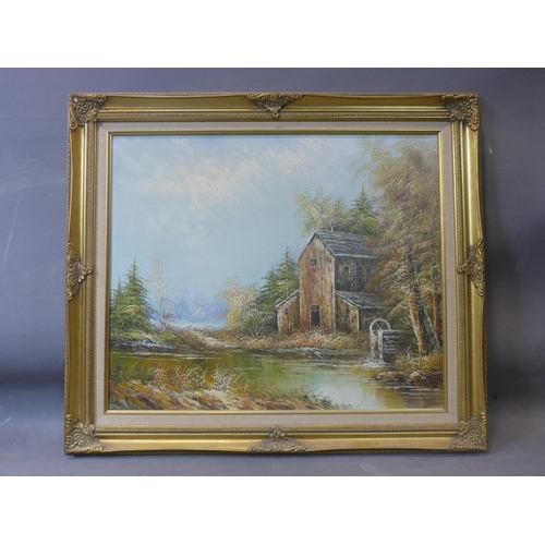 18 - 20th century school, a house with watermill in a mountainous landscape, oil on board, in gilt frame,...
