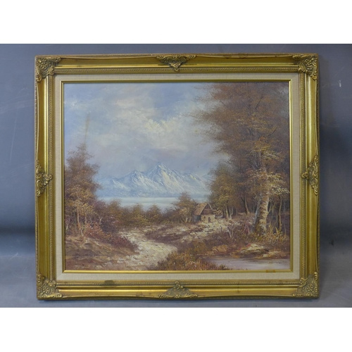 20 - 20th century school, Cottage in the woods in a mountainous landscape, oil on board, in gilt frame, 5...