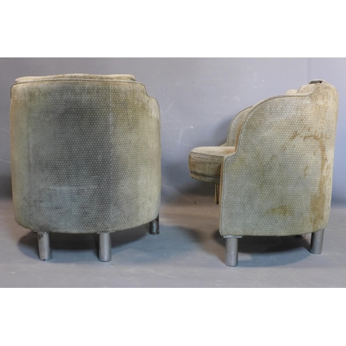 27 - Two Art Deco tub chairs, on cylindrical metal legs, staining to upholstery, H.72cm...