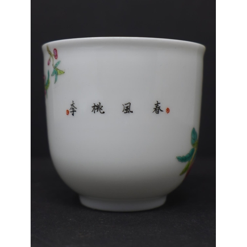 28 - A Chinese famille rose teacup, decorated with a bird on a branch with fruit and flowers, H.7cm Diame...