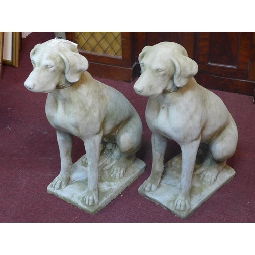 32 - Two reconstituted stone hunting dogs, H.72cm...