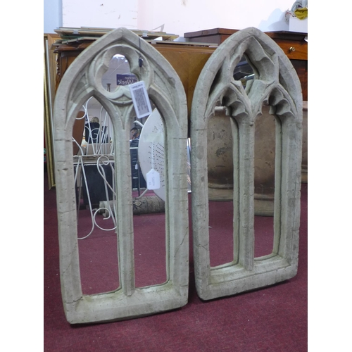 36 - Two reconstituted stone Gothic style arched garden mirrors, 79 x 35cm and 81 x 38cm...