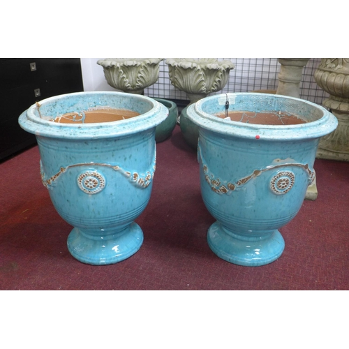 41 - Two small Anduze urn style blue glazed planters, decorated with floral swags, H.51cm Diameter 41cm...