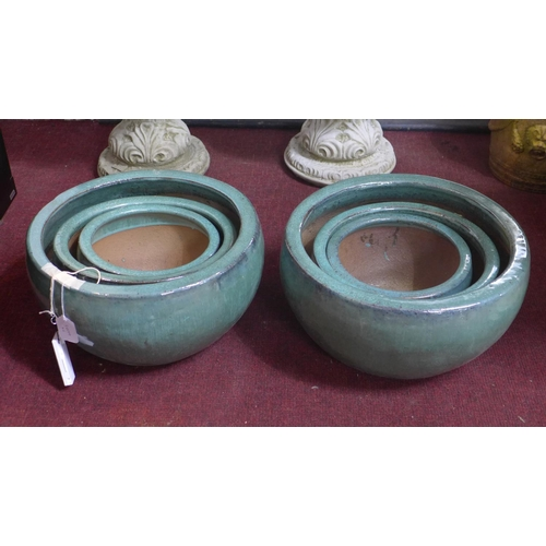 42 - Two sets of three teal glazed planters, H.23cm Diameter 43cm (largest) (6)...
