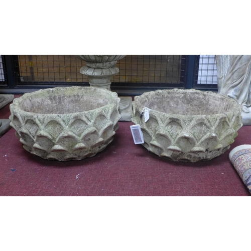 48 - Two vintage reconstituted stone leaf planters, H.26cm Diameter 53cm...