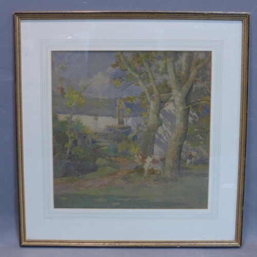 50 - Alexander P Thomson (1887-1962), 'The farmstead', watercolour, signed, framed and glazed, 48 x 43 cm...