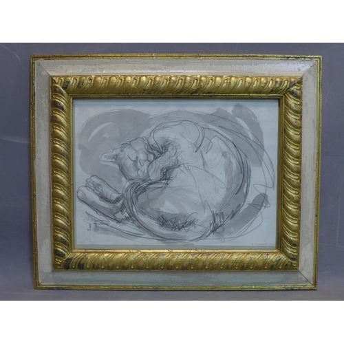 52 - Contemporary British draughtsman, sleeping cat, pencil and watercolour, signed and dated 'G. Thorogo...