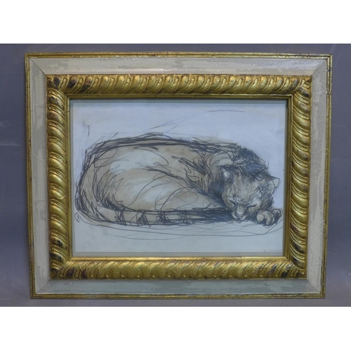 55 - Contemporary British draughtsman, sleeping cat, pencil and watercolour, signed and dated 'G. Thorogo...