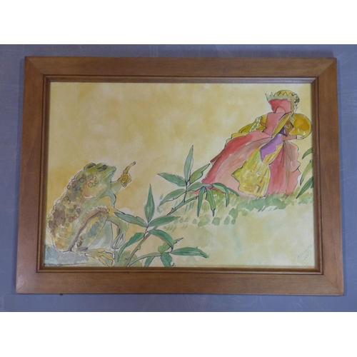 57 - Contemporary draughtsman, Four illustrations of the fable of the princess and the frog, signed and d...