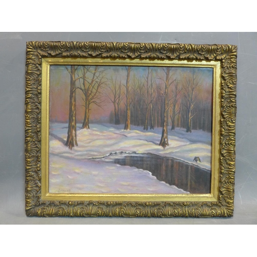 63 - Michail Markianovič Germašev (1867-1930) (attrib.) , Winter landscape, oil on canvas, signed, framed...