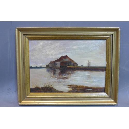 64 - 20th century Dutch school, Landscape with farm and mills, oil on board, framed, 40 x 34 cm...