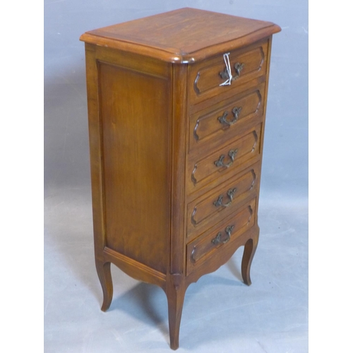 76 - A French pedestal chest of five drawers, on cabriole feet, H.85 W.46 D.34cm...