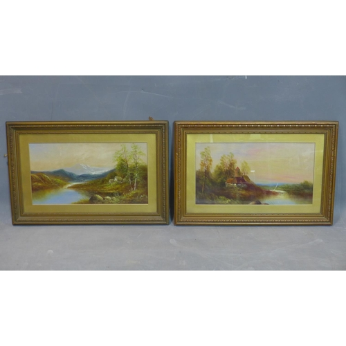 85 - A pair of oil on boards depicting landscape scenes, one with a cottage with mountains to background;...