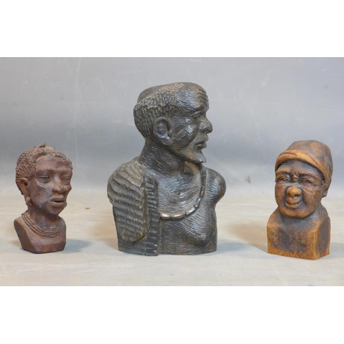 93 - A collection of African figures, to include a carved hardwood head and shoulder bust of a man, H.27c...