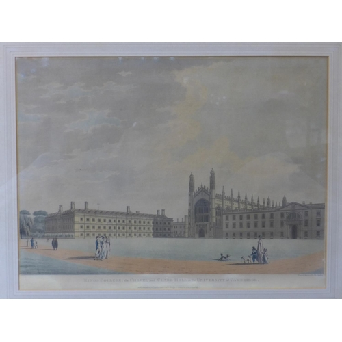 94 - A hand-coloured print of 'King's College, the Chapel and Clare Hall in the University of Cambridge',...