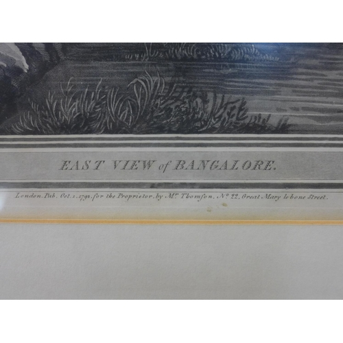95 - Engraving of 'East View of Bangalore', engraved by J.W. Edy, after R.H. Colebrooke, published in 179...