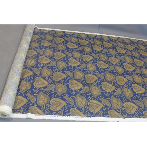 104 - A roll of designer fabric with gilt leaf decoration on a blue ground, marked 'Jane Churchill Limited...