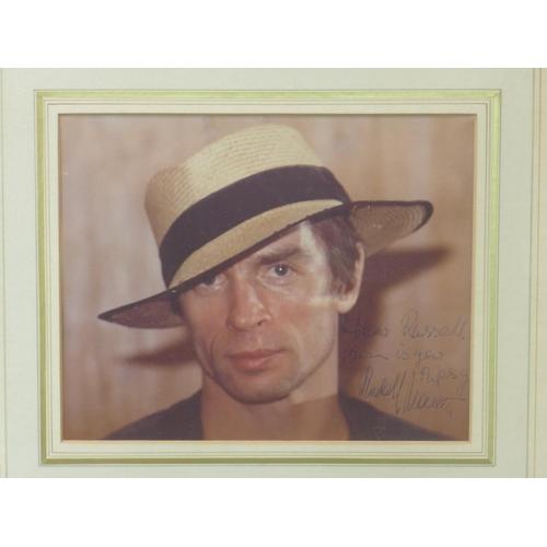 105 - A signed photograph of Soviet ballet dancer Rudolf Nureyev, with dedication from the dancer, framed ...