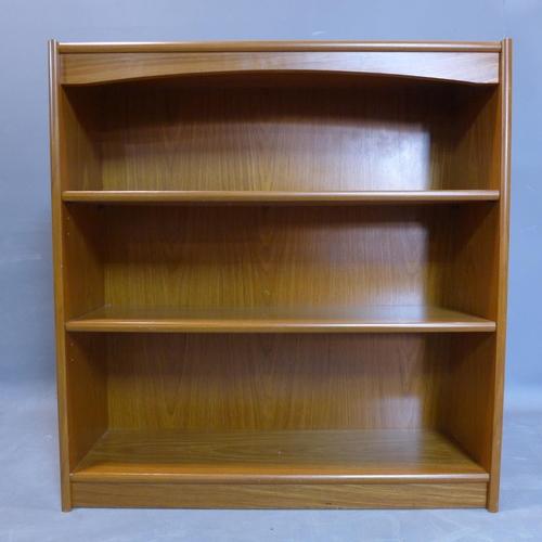 115 - A teak open bookcase H95cm x W90cm x D28cm...